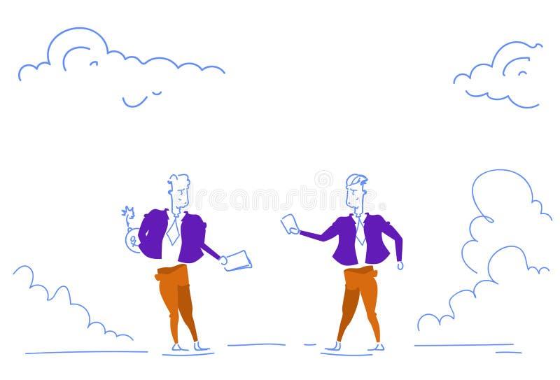 Affärsmän som rymmer baksida för nederlaget för avtalsaffärsmannen, bombarderar för partnerskapdokument för fara det orättvisa ri stock illustrationer