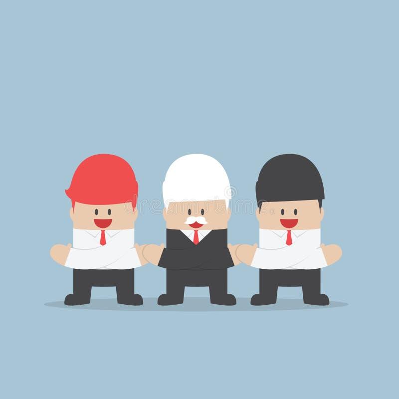 Affärsmän som rymmer händer av conc de, enhet och teamwork royaltyfri illustrationer