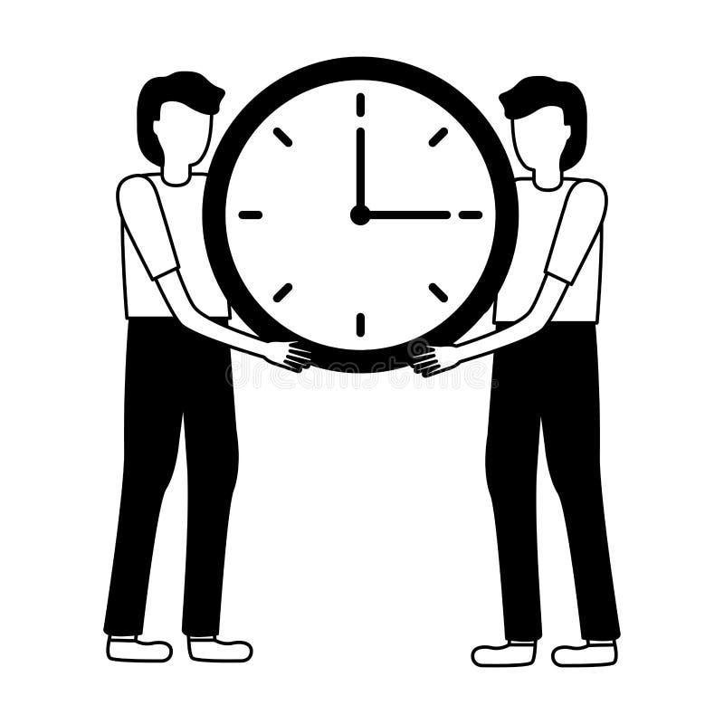 Affärsmän som rymmer klockan stock illustrationer