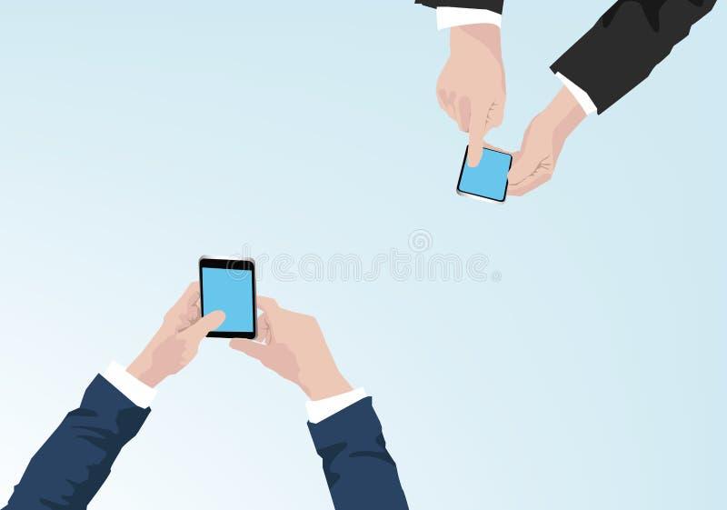 Affärsmän som rymmer mobiltelefonillustrationen - begrepp för affärskommunikation royaltyfri illustrationer