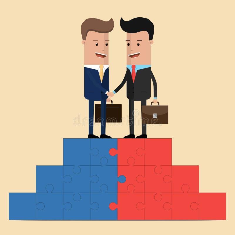 Affärsmän som skakar händer på en pusselpyramid också vektor för coreldrawillustration vektor illustrationer