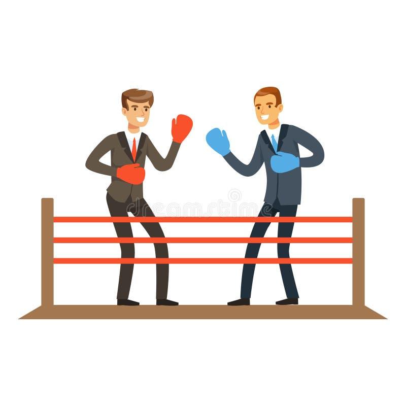 Affärsmän som slåss på boxningsringen, illustration för affärskonkurrensvektor stock illustrationer