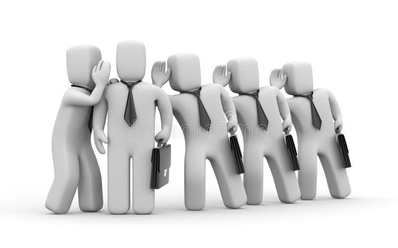 Affärsmän som spionerar på andra affärspersoner stock illustrationer
