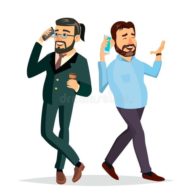 Affärsmän som till varandra talar på telefonvektorn Kontorsvänner, kollegor Framstickande vd Meddelande man vektor illustrationer