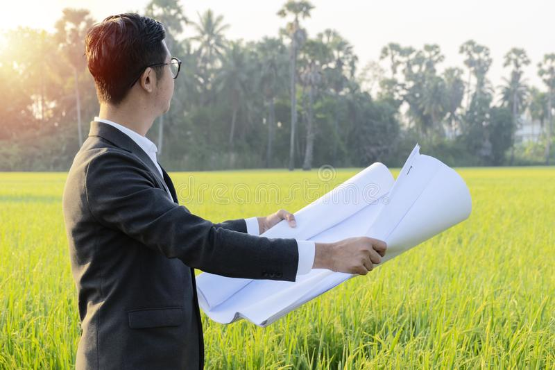 Affärsmän undersöker land för investering royaltyfri foto