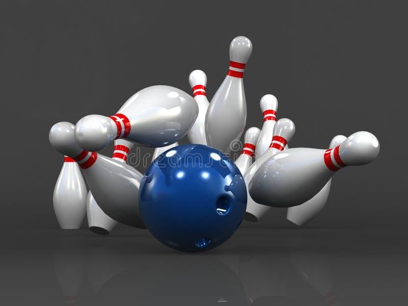Affärsmålbegrepp och att bowla materialbollen och käglor som isoleras på mörk bakgrund, exakt slag, tolkning 3D, vektor illustrationer