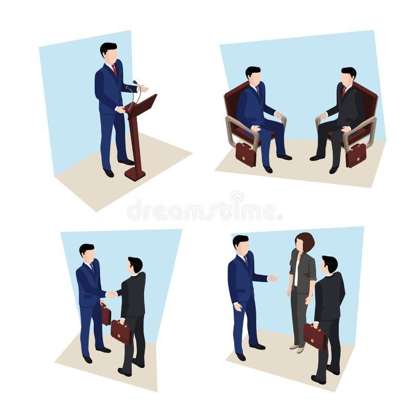 Affärsmöte, folk i affärsdräkter stock illustrationer