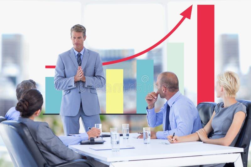 Affärsmöte framme av den digitala skärmen med diagram royaltyfri illustrationer