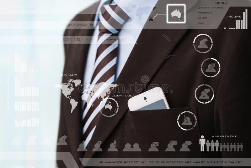 Affärsmöte i ett faktiskt utrymme arkivfoton