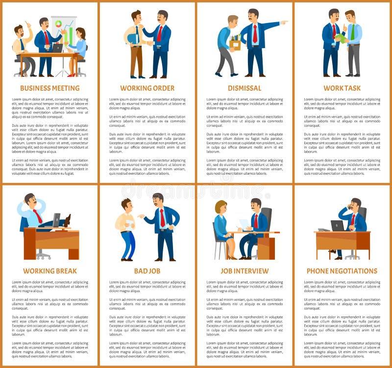 Affärsmöte och avskedande av arbetaren i regeringsställning royaltyfri illustrationer