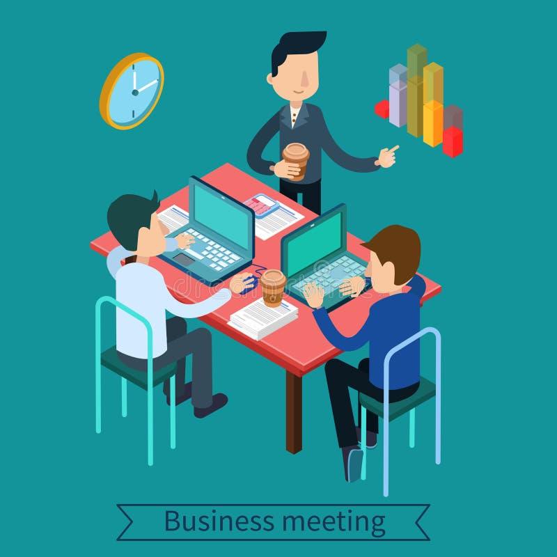 Affärsmöte och Teamworking isometriskt begrepp royaltyfri illustrationer