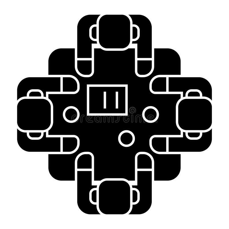 Affärsmöte - samtal - kläckning av ideersymbol, vektorillustration, svart tecken på isolerad bakgrund stock illustrationer