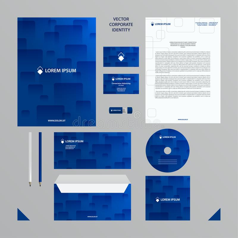Affärsmall för företags identitet Företagsstiluppsättningen i blått tonar med den genomskinliga tegelplattamodellen stock illustrationer