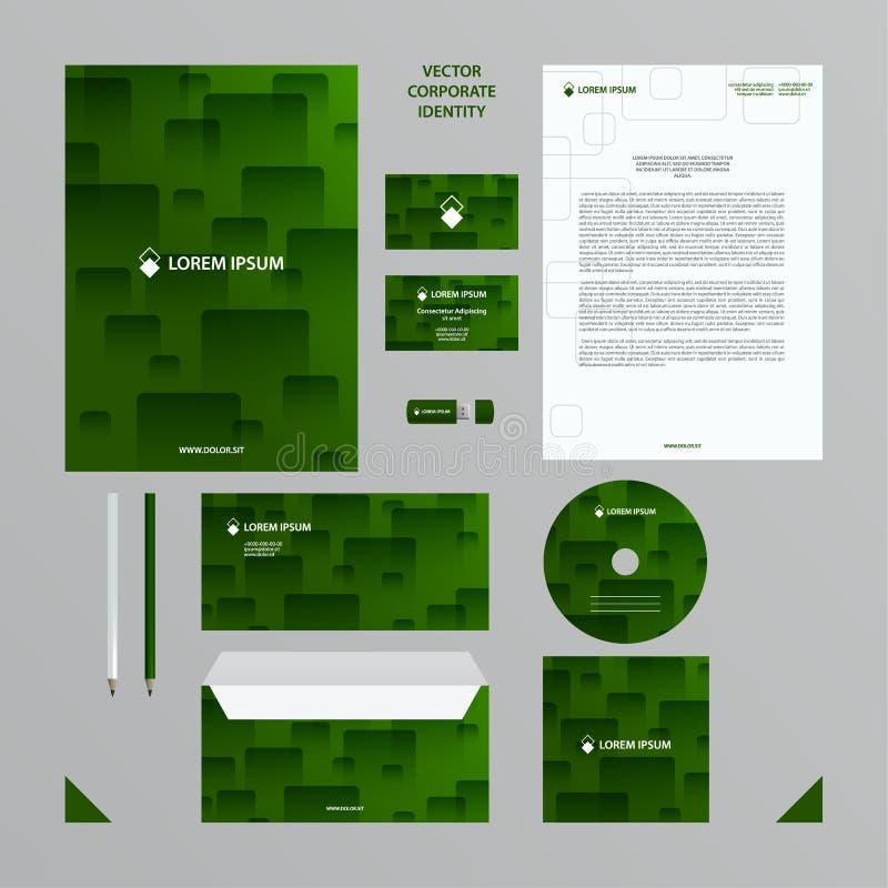 Affärsmall för företags identitet Företagsstiluppsättningen i gräsplan tonar med den genomskinliga tegelplattamodellen stock illustrationer
