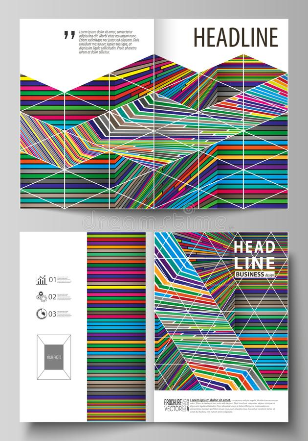 Affärsmallar för bi viker broschyren, reklambladet, rapport Täcka designmallen, abstrakt vektororientering i formatet A4 brigham royaltyfri illustrationer