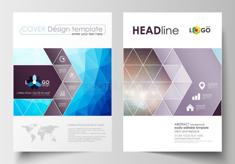 Affärsmallar för broschyr, tidskrift, reklamblad, häfte eller årsrapport Täcka designmallen, plan orientering i A4 stock illustrationer