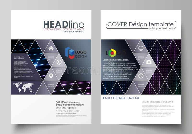 Affärsmallar för broschyren, tidskrift, reklamblad, häfte Räkningsmall, orientering i formatet A4 Abstrakt färgrikt neon royaltyfri illustrationer