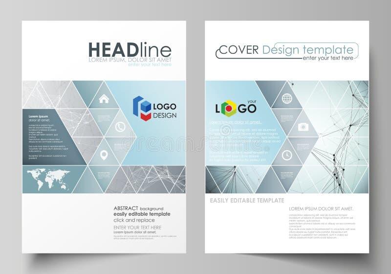 Affärsmallar för broschyren, tidskrift, reklamblad, häfte Täcka designmallen, vektororientering i formatet A4 Kemi royaltyfri illustrationer
