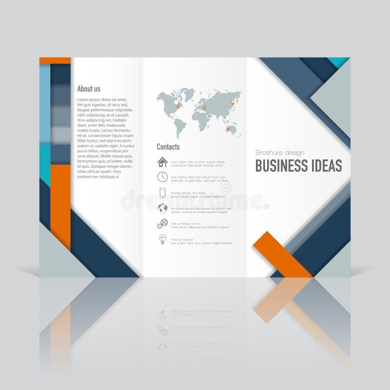 Affärsmallar för den trifold broschyren, årsrapport royaltyfri illustrationer