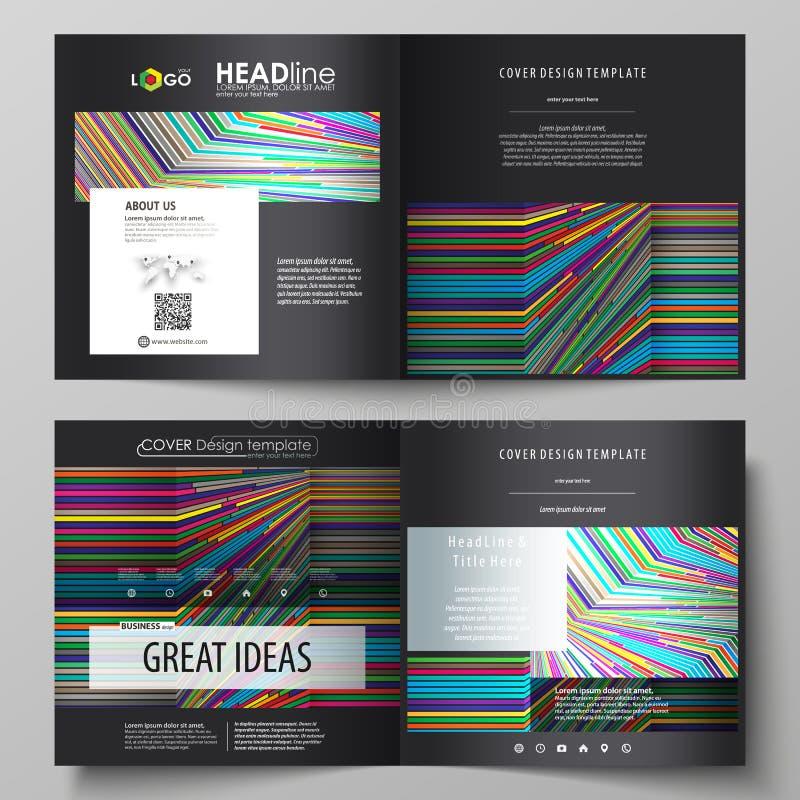 Affärsmallar för fyrkantig designbi viker broschyren, reklambladet, rapport Broschyrräkning, abstrakt vektororientering brigham royaltyfri illustrationer