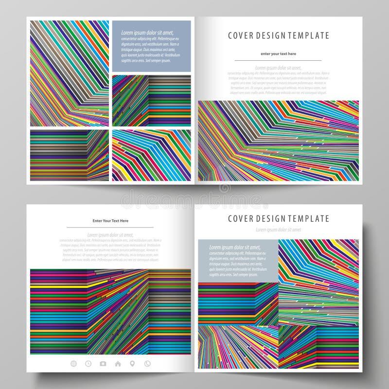 Affärsmallar för fyrkantig designbi viker broschyren, reklambladet, rapport Broschyrräkning, abstrakt vektororientering brigham vektor illustrationer