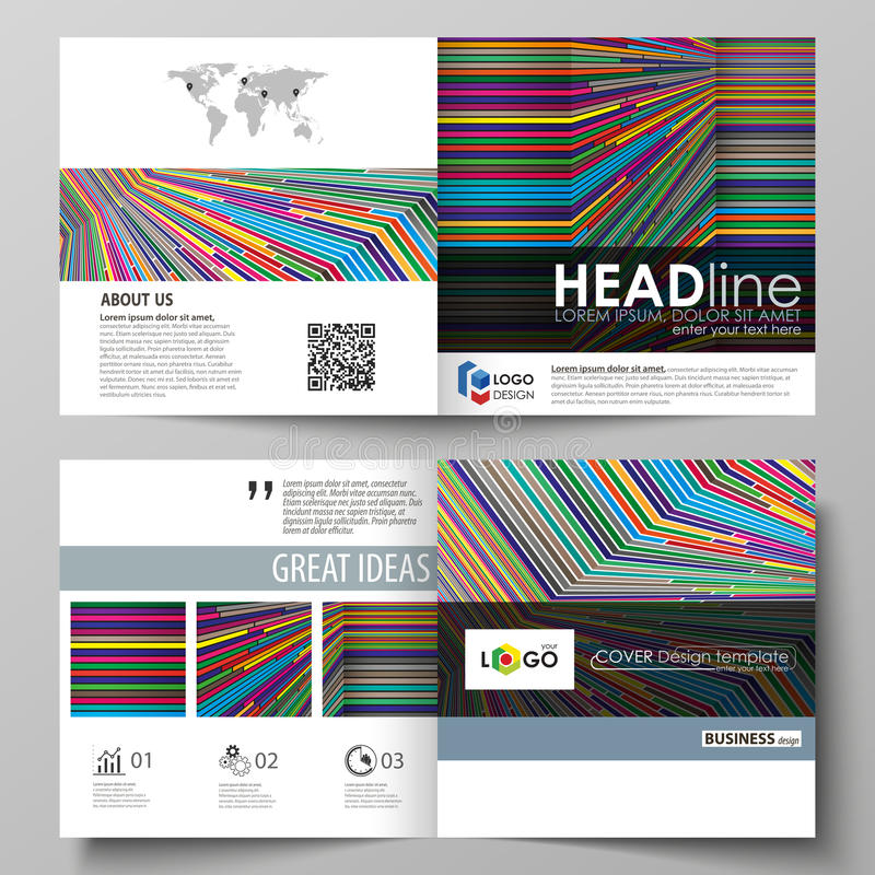 Affärsmallar för fyrkantig designbi viker broschyren, reklambladet, rapport Broschyrräkning, abstrakt vektororientering brigham stock illustrationer