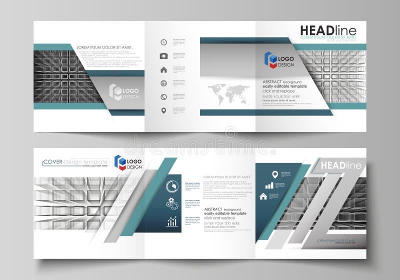 Affärsmallar för trifold fyrkantiga designbroschyrer Broschyrräkning, vektororientering Abstrakt oändlighetsbakgrund, 3d stock illustrationer