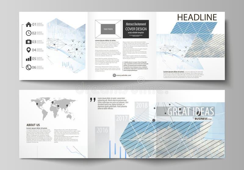 Affärsmallar för trifold fyrkantiga designbroschyrer Broschyrräkning, vektororientering Blått infographic färgabstrakt begrepp stock illustrationer