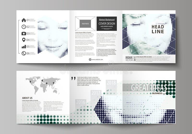 Affärsmallar för trifold fyrkantiga designbroschyrer Broschyrräkning, vektororientering Prickig bakgrund för halvton som är retro vektor illustrationer