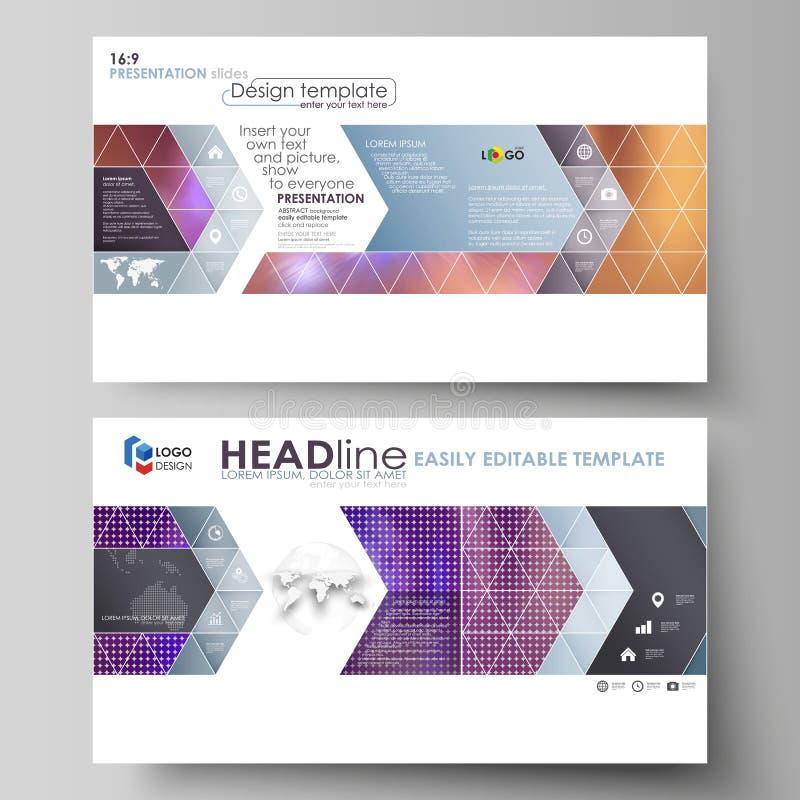 Affärsmallar i HD-formatet för presentation glider Lätta redigerbara abstrakta vektororienteringar i plan stil brigham stock illustrationer