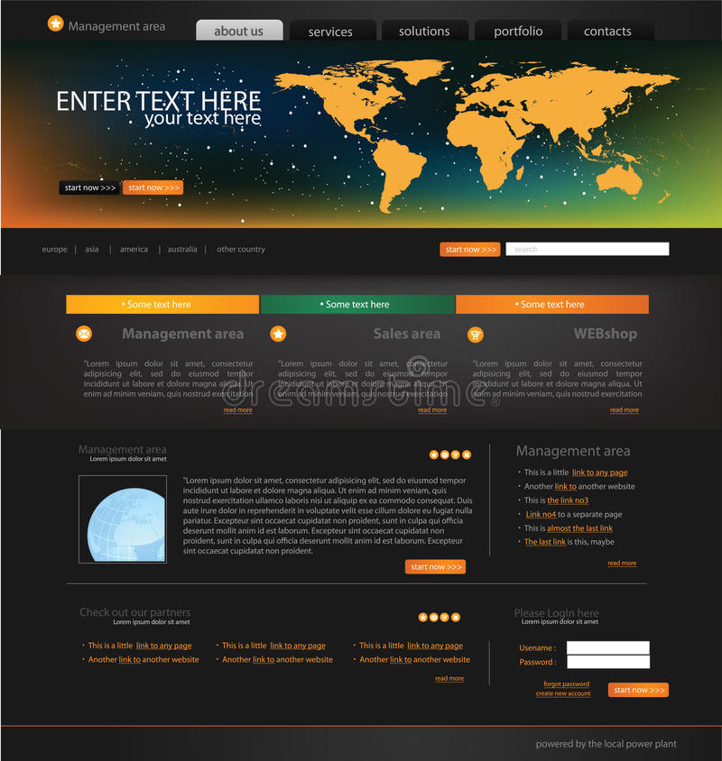 affärsmallwebsite royaltyfri illustrationer