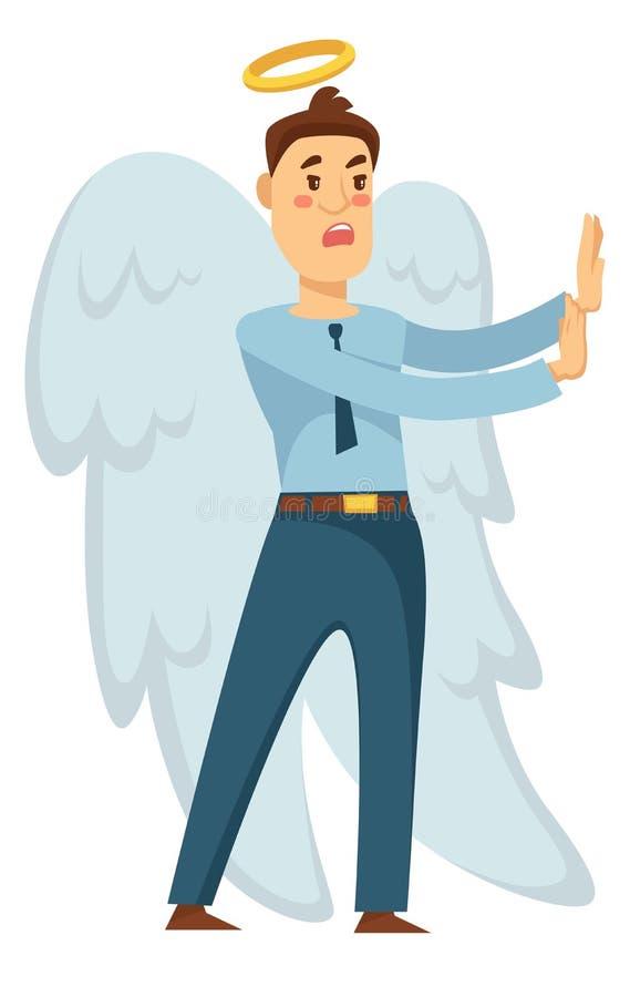 Affärsmanängel med vingar och gloria som stoppar från dåligt beslut stock illustrationer