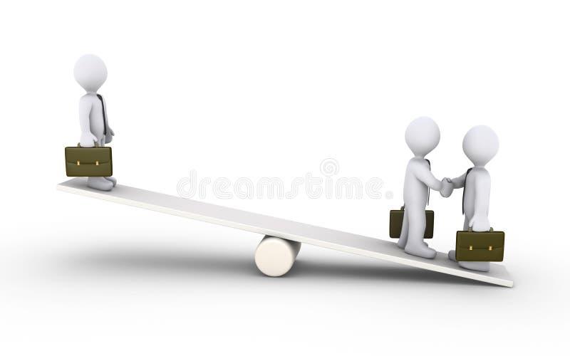 Affärsmanöverenskommelse på en seesaw stock illustrationer