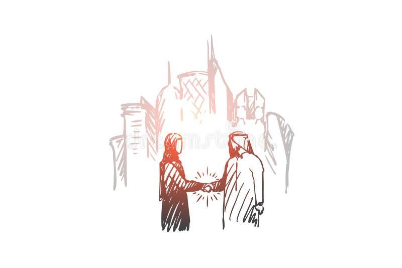 Affärsman överenskommelse, avtal, muslim, stadsbegrepp Hand dragen isolerad vektor stock illustrationer