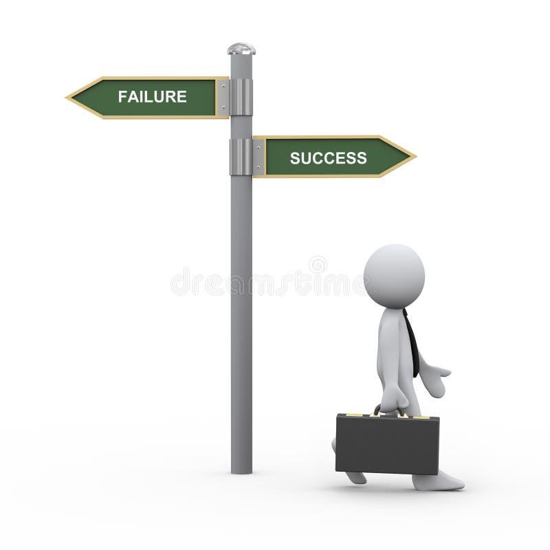 affärsman 3d och framgångsvägmärke stock illustrationer