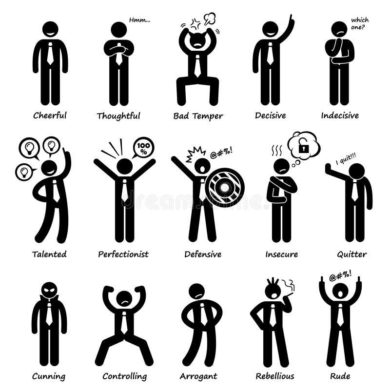 Affärsman Attitude Personalities Characters Cliparts royaltyfri illustrationer
