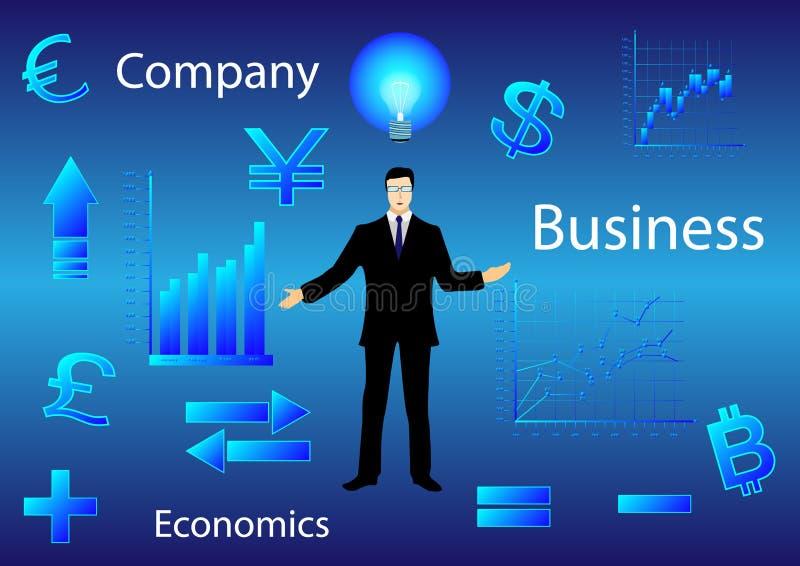 Affärsman bland diagram och finansiella symboler stock illustrationer