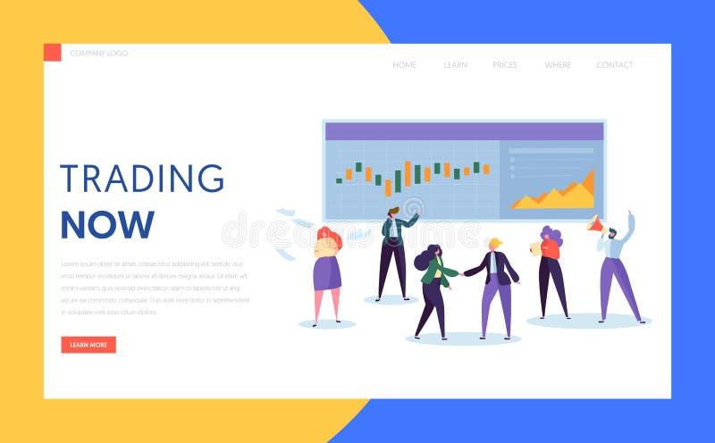 Affärsman Buying och säljamateriel, förbindelse eller artikel eller derivata och aktieandelsfondlandningsida Yrkesmässigt arbete  royaltyfri illustrationer