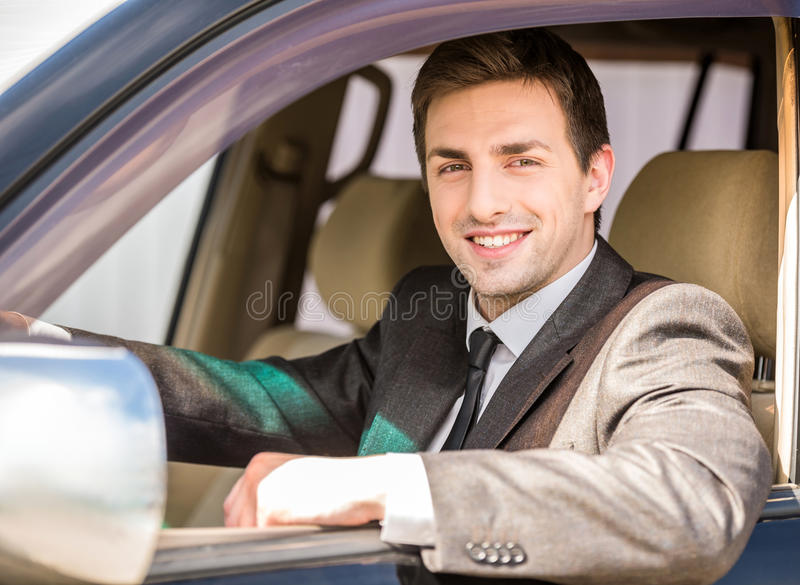 Affärsman In The Car royaltyfri fotografi