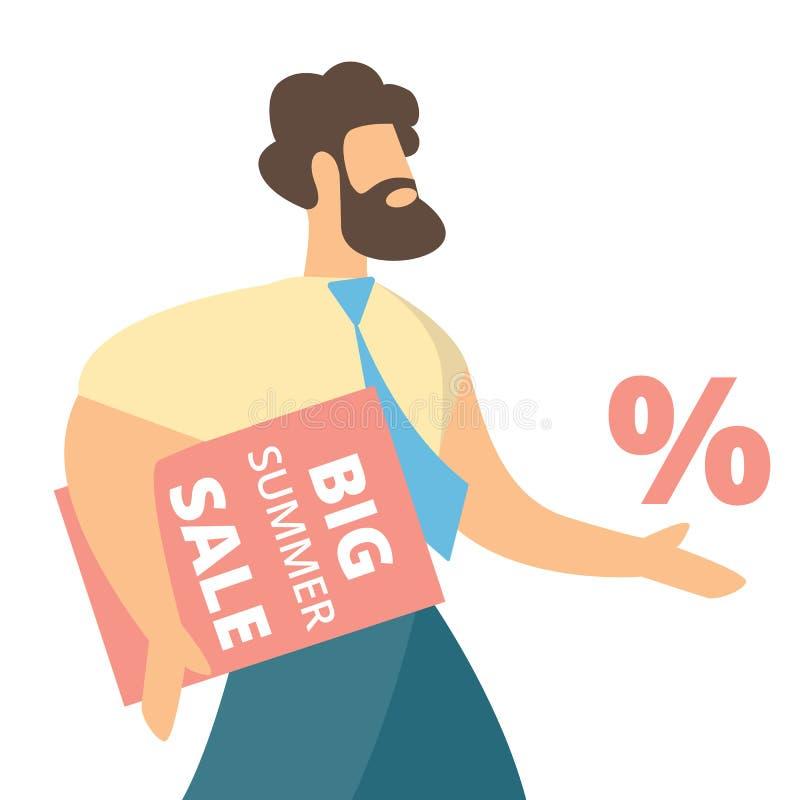 Affärsman Carry Banner med stor sommarSale text royaltyfri illustrationer