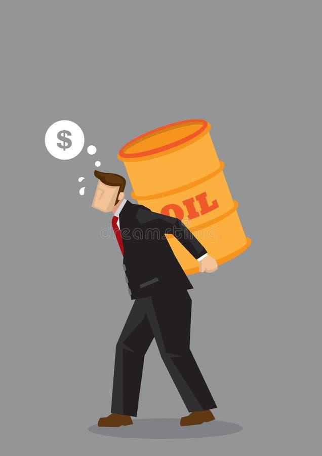 Affärsman Carrying Oil Barrel och tänka av pengarvektorillustrationen stock illustrationer