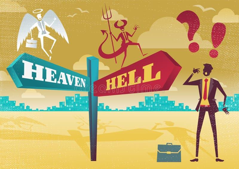 Affärsman Contemplates Heaven och helvetedilemma royaltyfri illustrationer