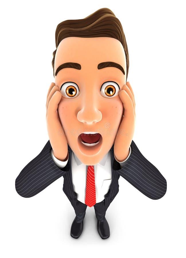 affärsman 3d med chockat ansiktsuttryck vektor illustrationer