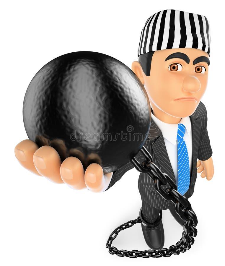 affärsman 3D med fångebollen corrupt politikar stock illustrationer