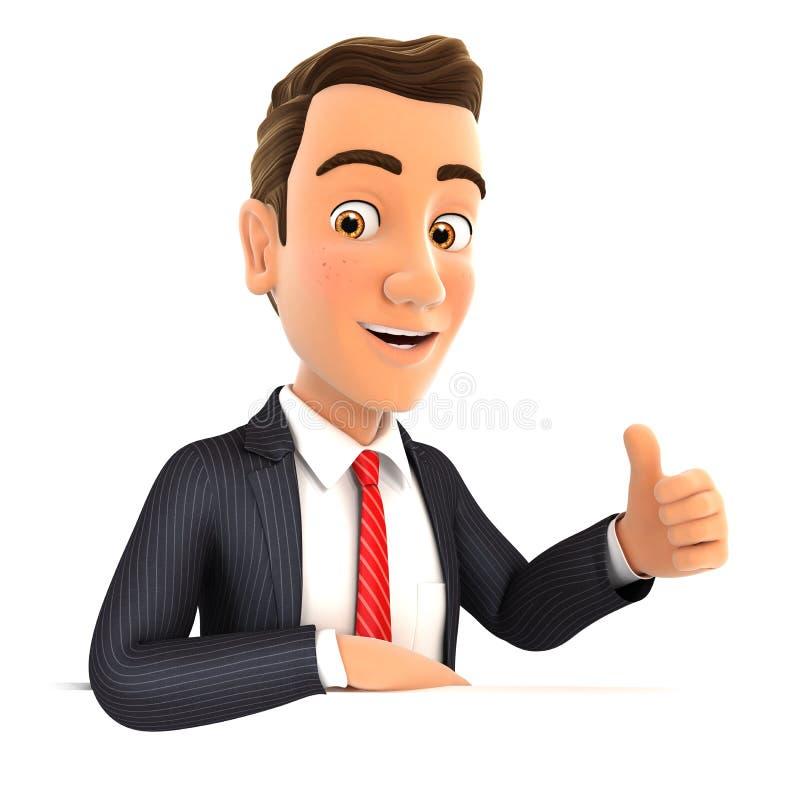 affärsman 3d med hans armbåge på väggen och tummen upp vektor illustrationer