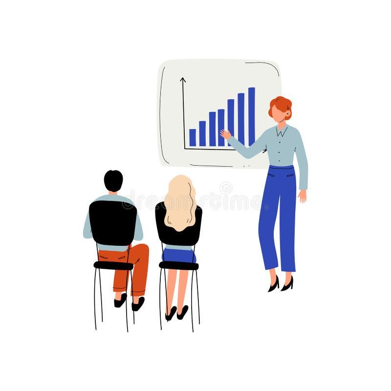 Affärsman Doing Presentation till grupp människor, utbildning av kontorspersonalen, teamwork, vektor för affärsmöte stock illustrationer