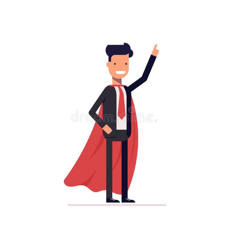 Affärsman eller chef i det heroiska ansvaret stock illustrationer