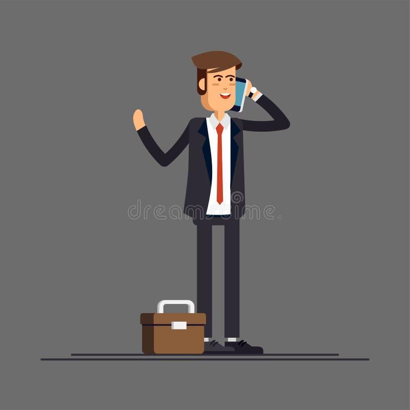 Affärsman eller chef i en affärsdräkt royaltyfri illustrationer