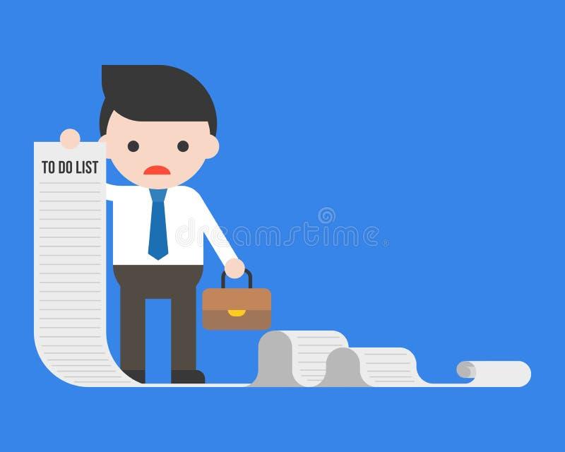 Affärsman eller chef som rymmer långt papper av för att göra listan royaltyfri illustrationer