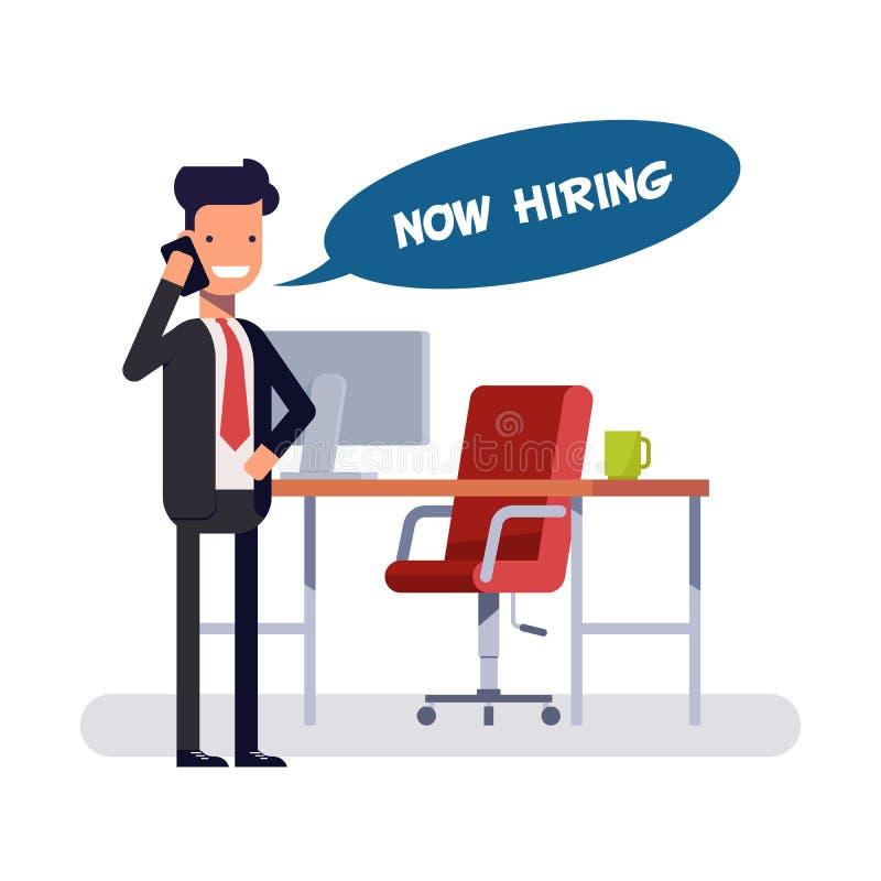 Affärsman- eller cheferbjudanden frigör position Chef på telefonen Man i affärsdräkt i sökandet för ny anställd vektor illustrationer